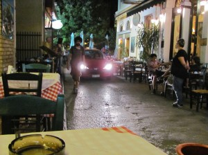 Taverna row in Athens' Psirri neighborhood