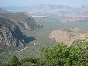 The view from Delphi down to the sea.