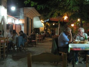 All ages gather together on a late summer evening in the town of Christos, Ikaria