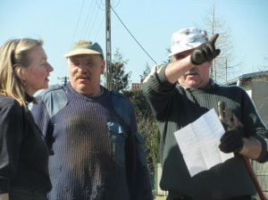 Helpful construction workers giving me directions my ancestral town of Kochanow, Poland