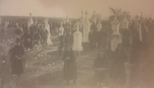 Villagers say a last farewell as they leave behind the village of Hoffnungstal, Bessarabia, (now Nadezhdivka, Ukraine) in 1940.