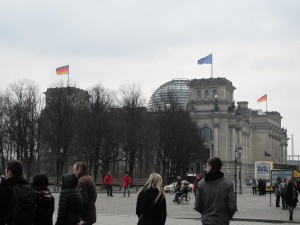 The Reichstag building is now restored and seat of the German Parliament.