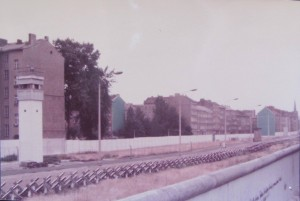 1983: The Wall is at the lower right of the photo. Behind the wall was a no man's land to prevent people from escaping.
