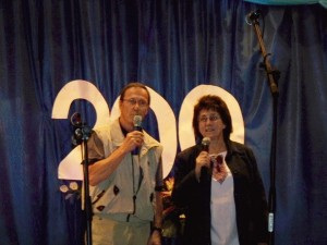 Merv (along with translator Inna) speaks at Lymans'ke's 200th anniversary celebration.